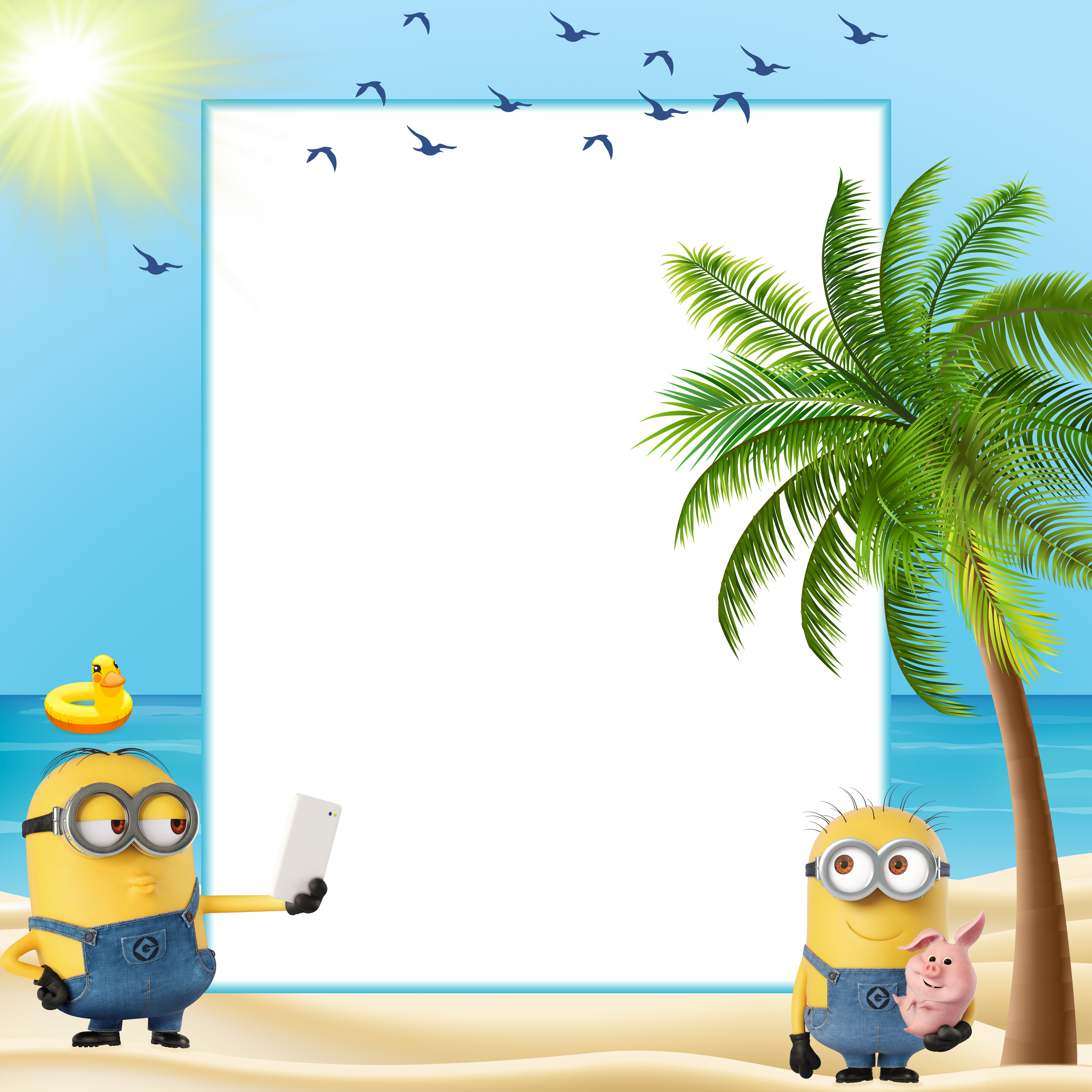 Summer kids transparent frame. Minions clipart easter