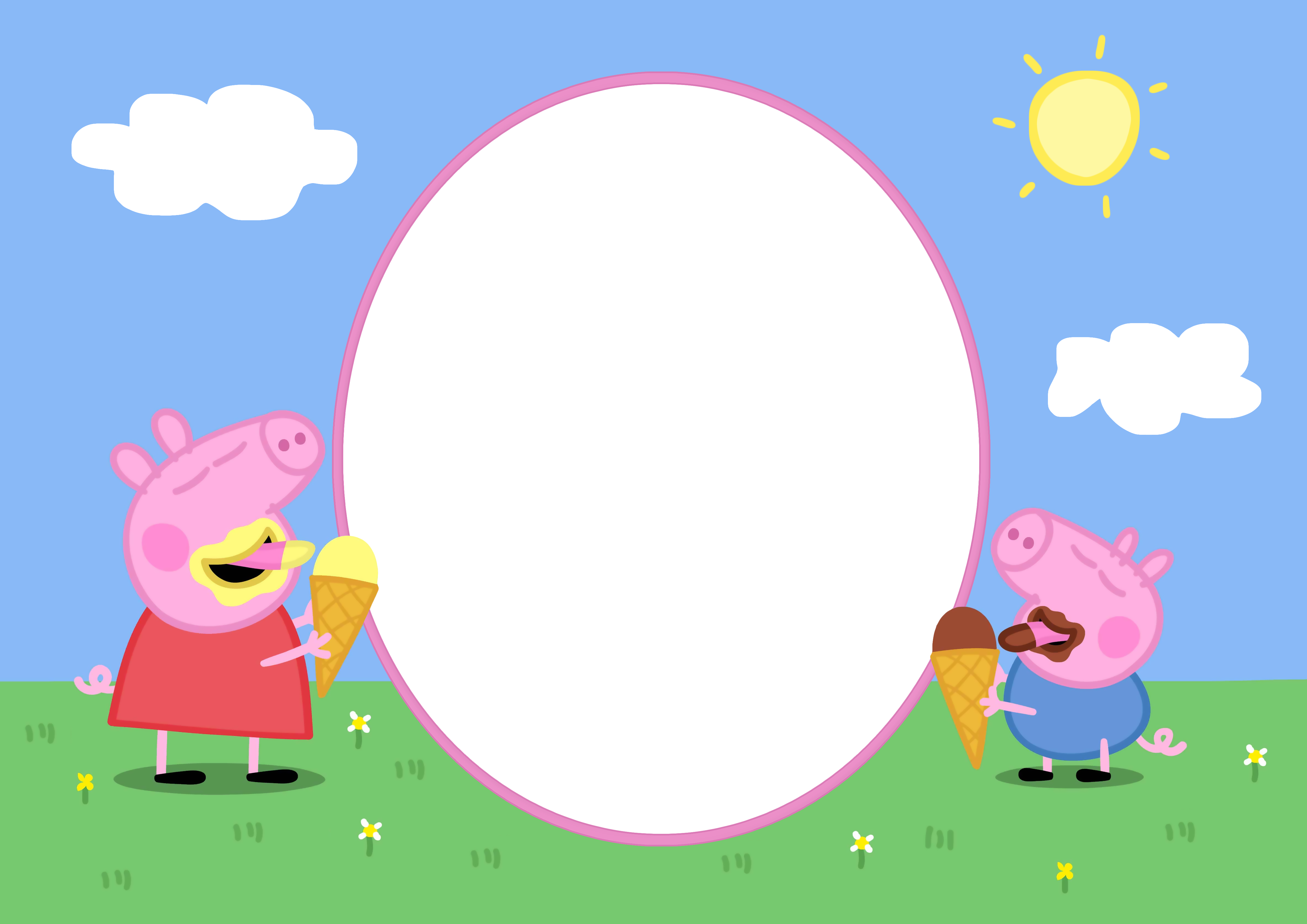 Peppa pig kids png. Clipart bunny frame