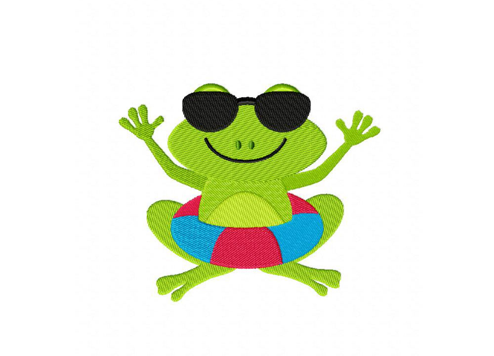 Clipart frog beach. Machine embroidery design