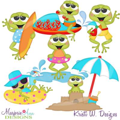 Frogs svg cutting files. Clipart frog beach