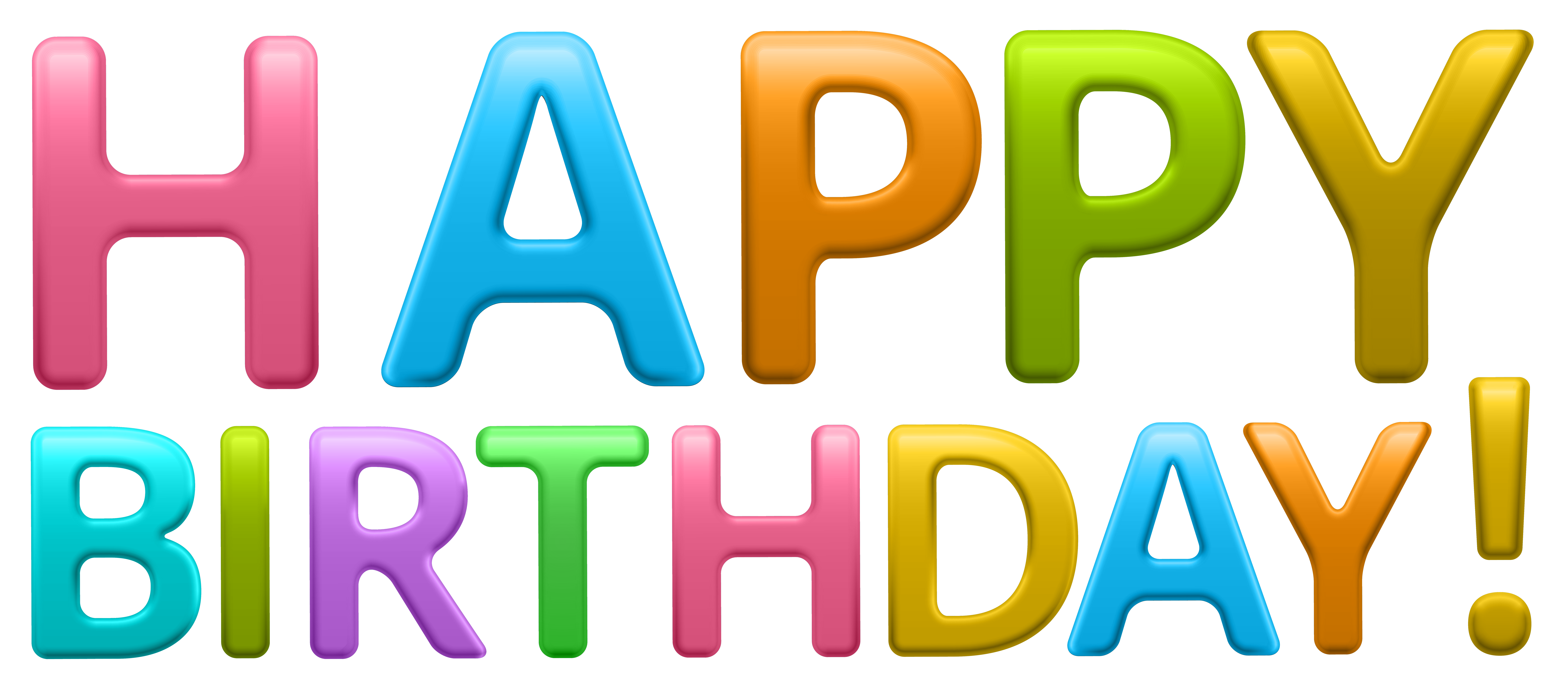 Words clipart happiness. Colorful happy birthday transparent