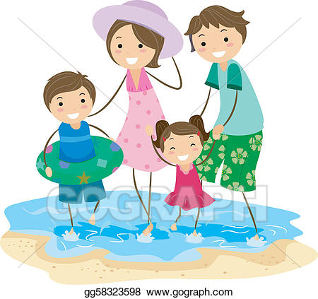 Vector art family drawing. Clipart beach outing
