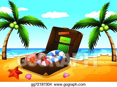 Clipart beach outing. Eps illustration a vector