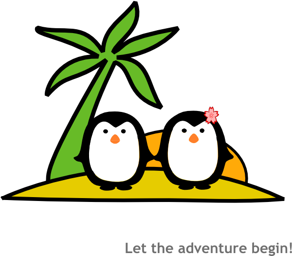 Two penguins at clip. Clipart sun beach