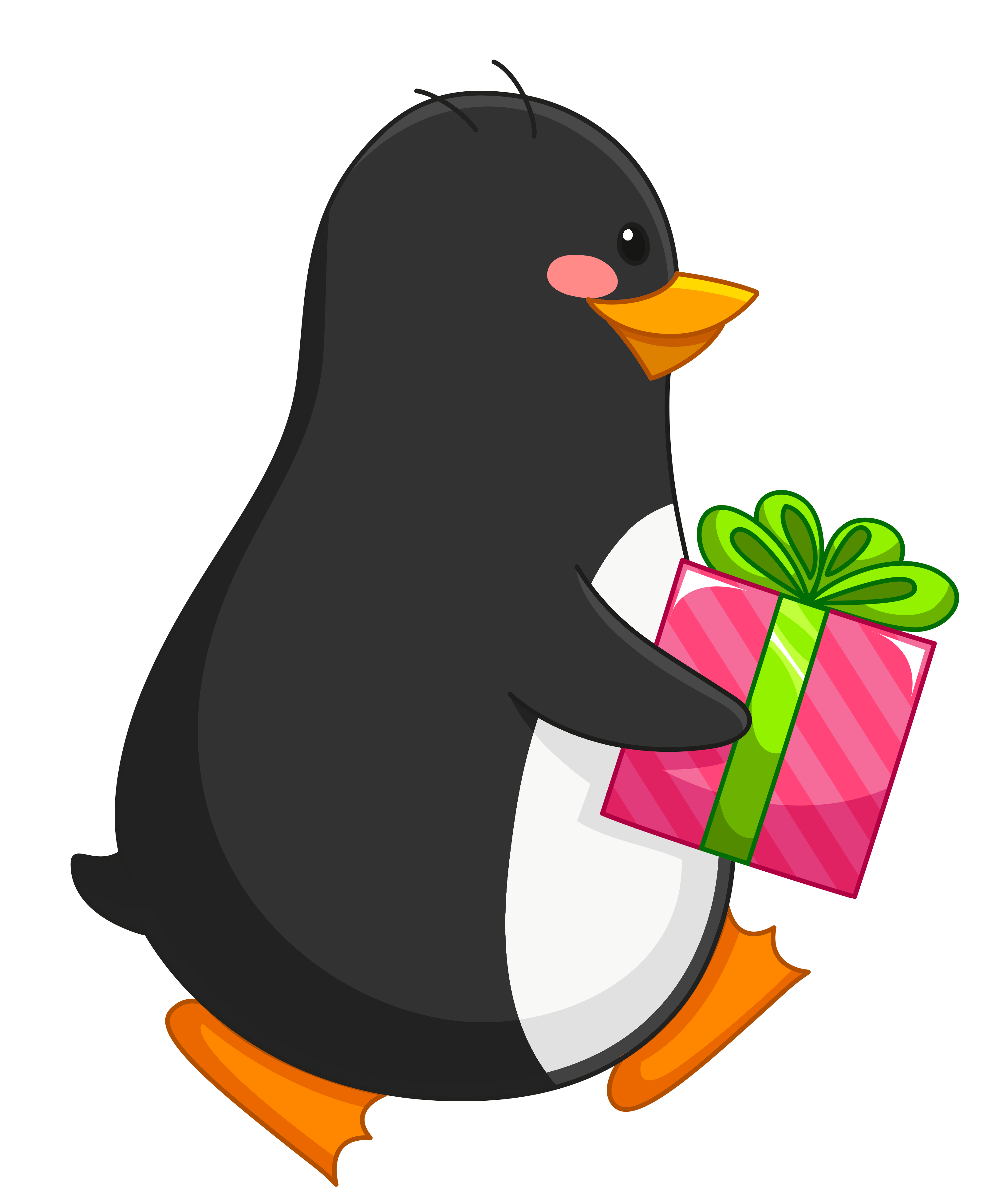Transparent penguin with gift. Clipart penquin merry christmas