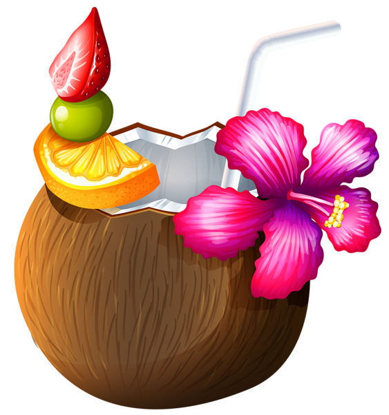 Pineapple clipart flower. Exotic coconut cocktail png