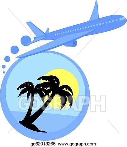 Vector art eps gg. Clipart plane beach