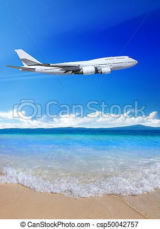 Creative design of vector. Clipart plane beach