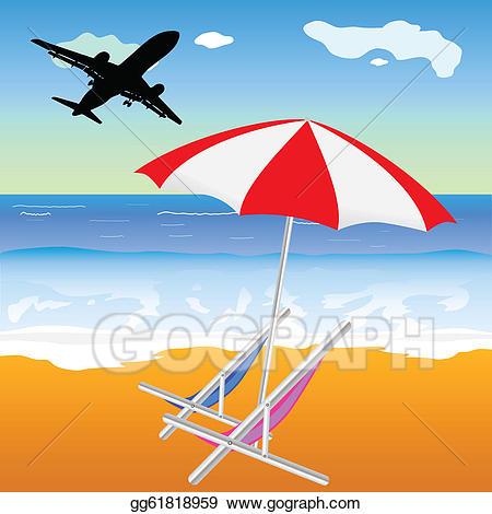 Clipart plane beach. Vector art illustration with