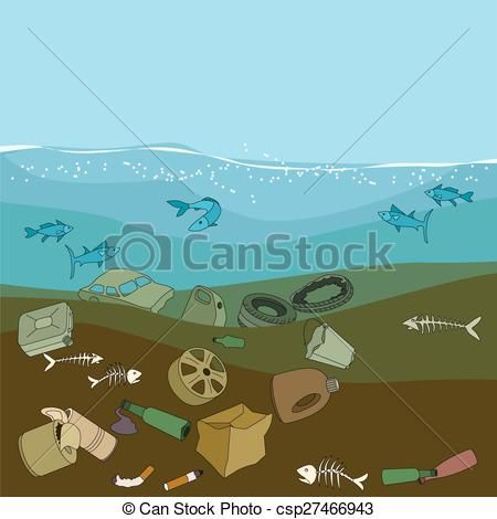 Vector water pollution in. Garbage clipart drawing ocean