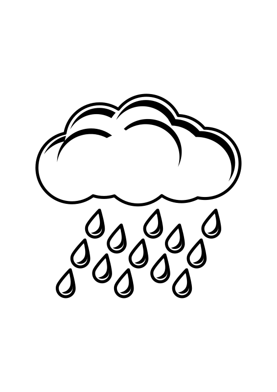 Rain black and white. Raindrop clipart cloudy with
