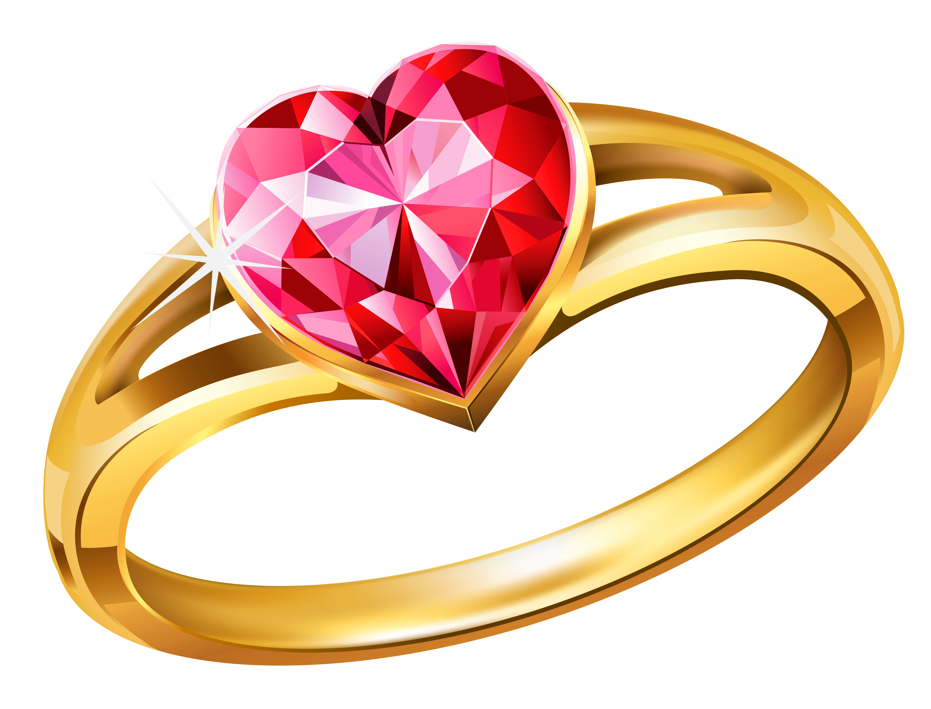 Hearts clipart ring. Gold with pink diamond