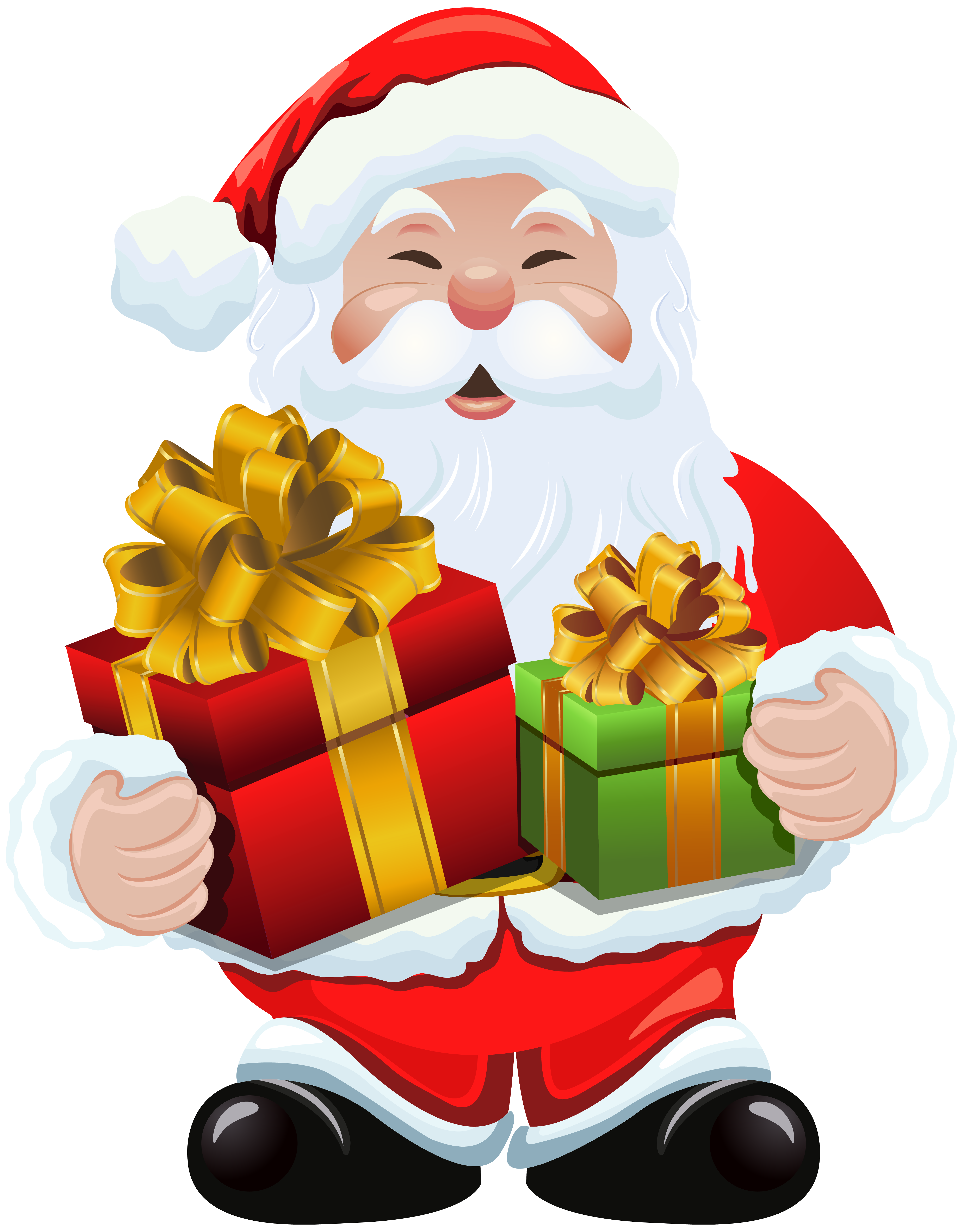 Claus with gifts png. Clipart santa hand