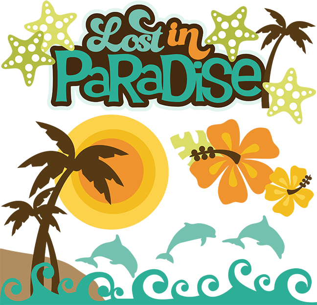 Lost in paradise svg. Words clipart beach