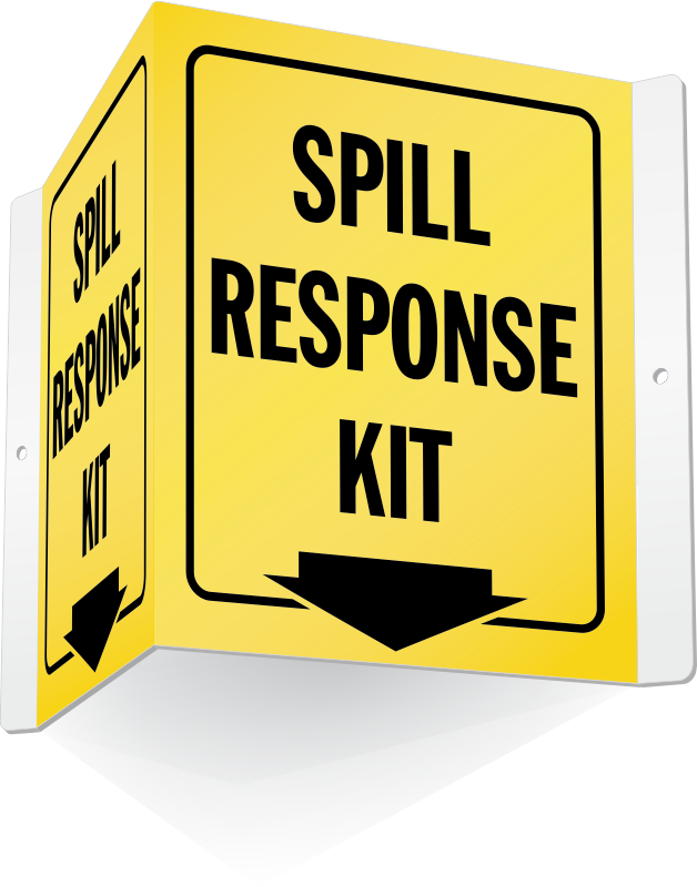 Spill kit signs station. Housekeeping clipart safety signage