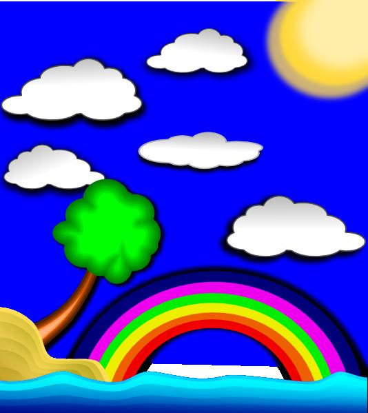 Rainbow on clip art. Clipart clouds beach