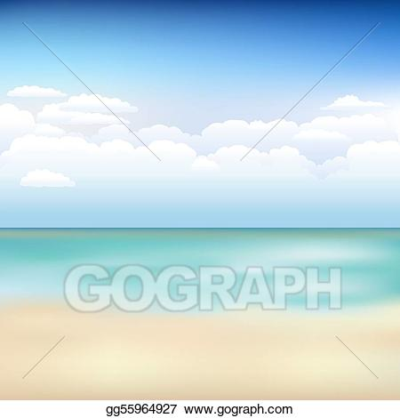 Vector beautiful landscape with. Clipart clouds beach