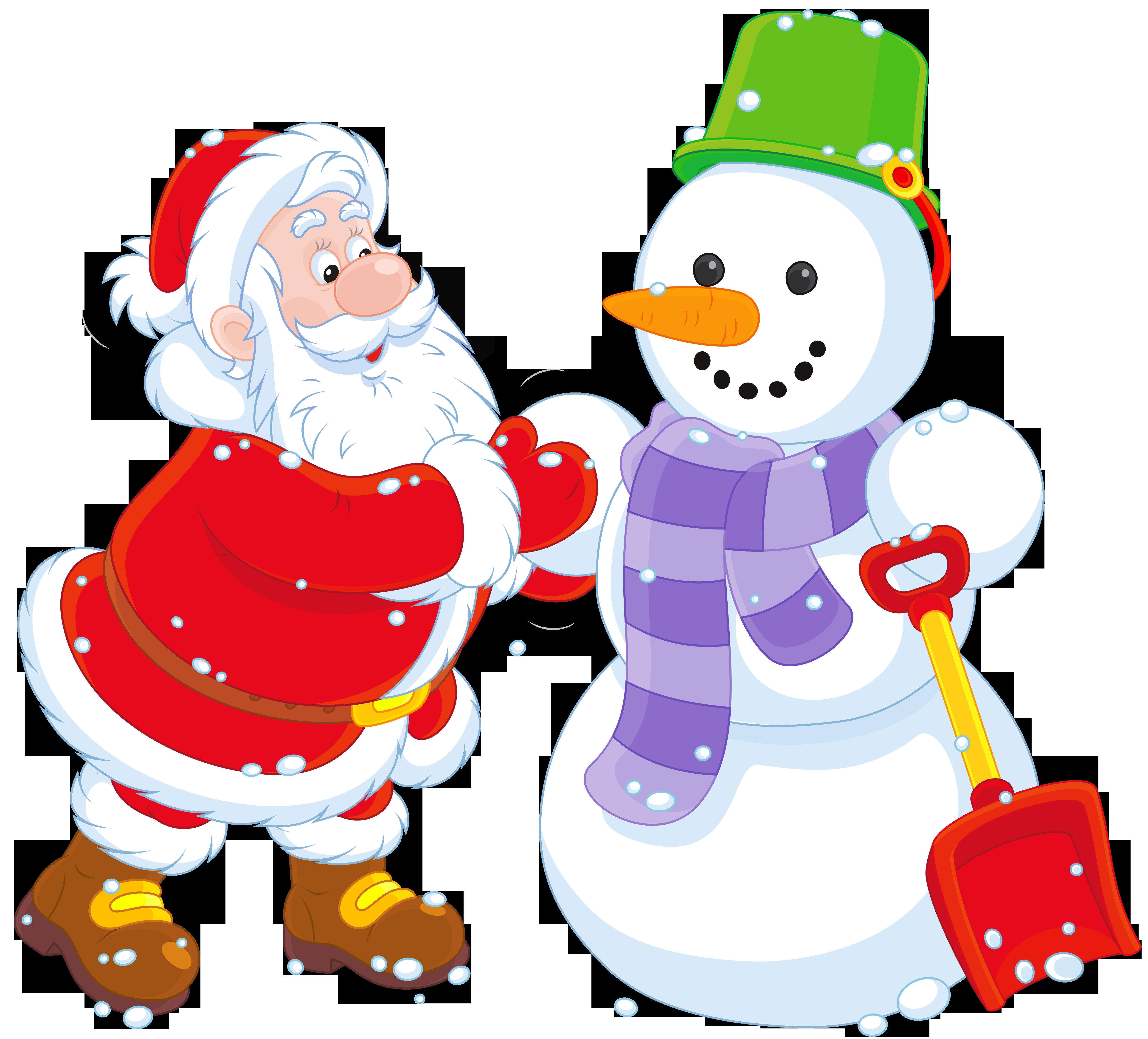 Transparent santa and snowman. Winter clipart golf