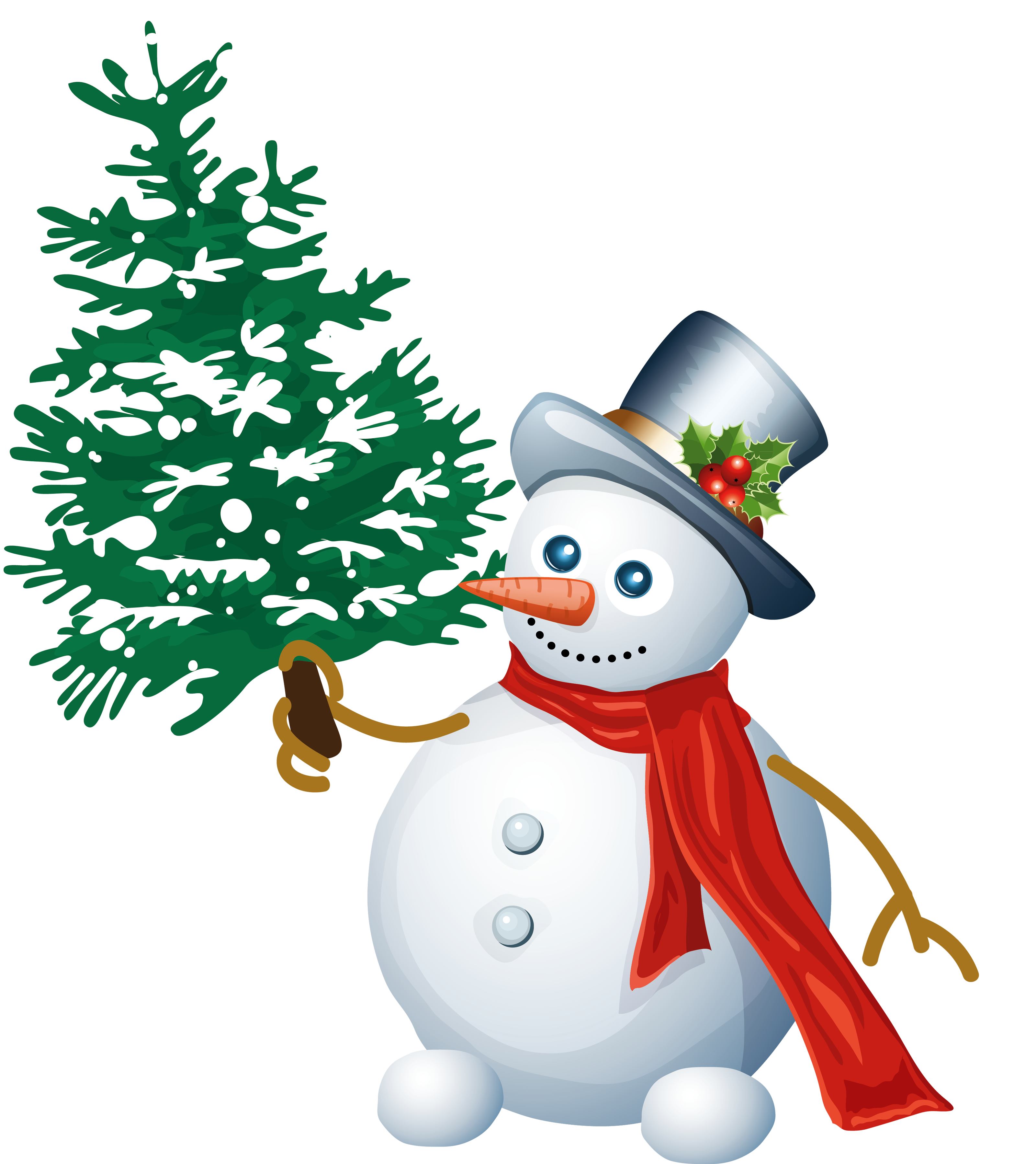 Stamp clipart library. Snowman with tree png
