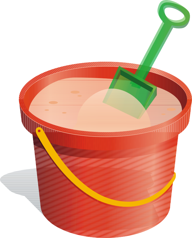 Bucket and spade sand. Clipart toys food