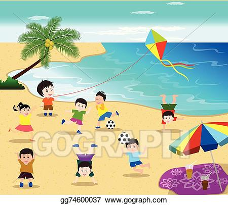 Clipart kite beach. Vector art fun sport