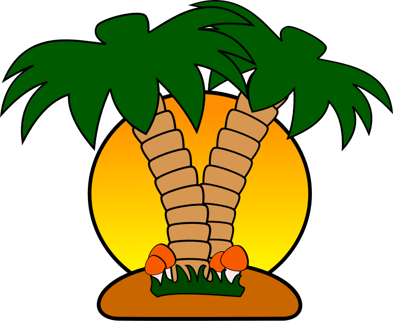 Free tropical with palm. Sunset clipart island caribbean