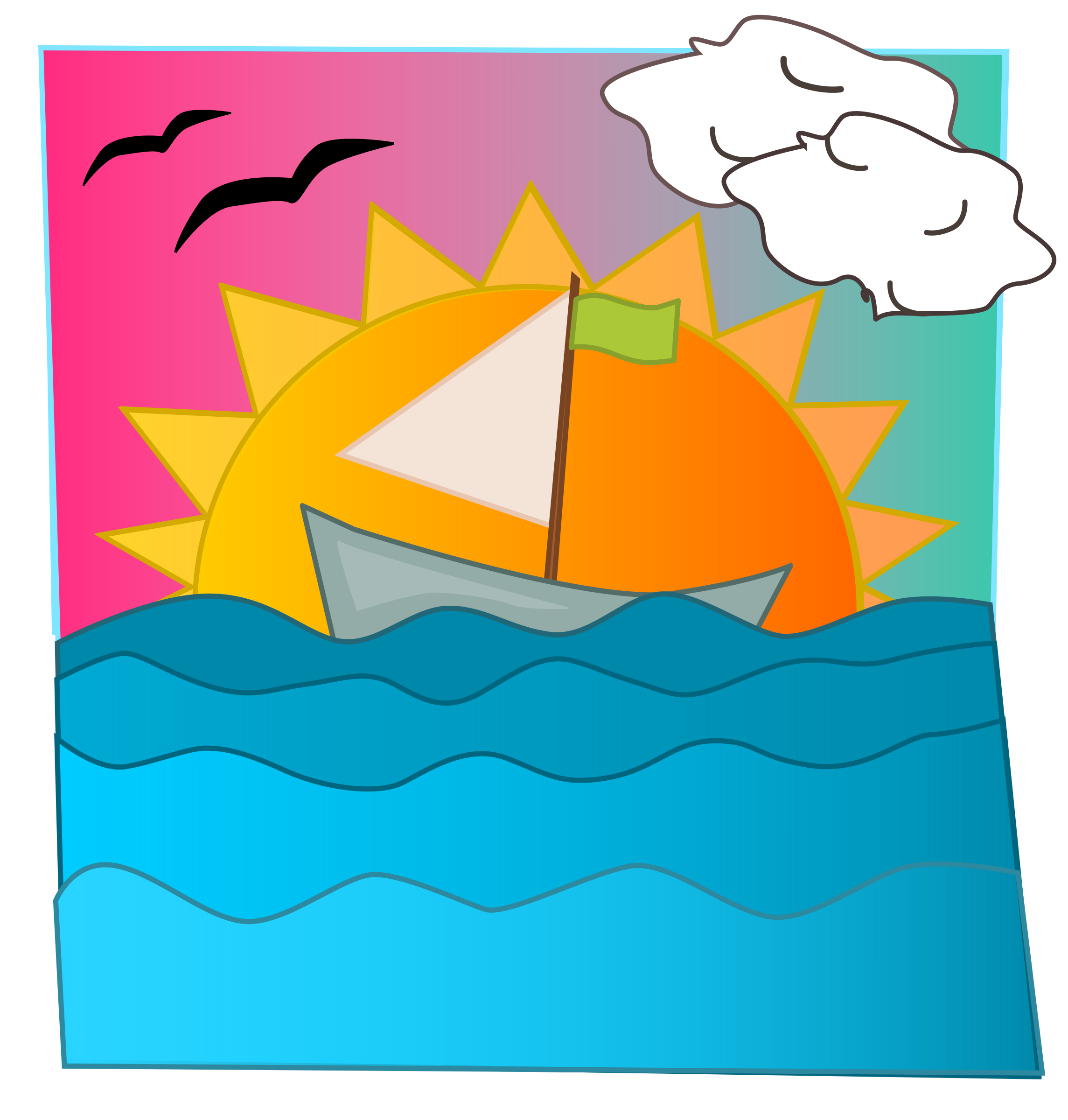 Clipart boat beach. Sunset big image png