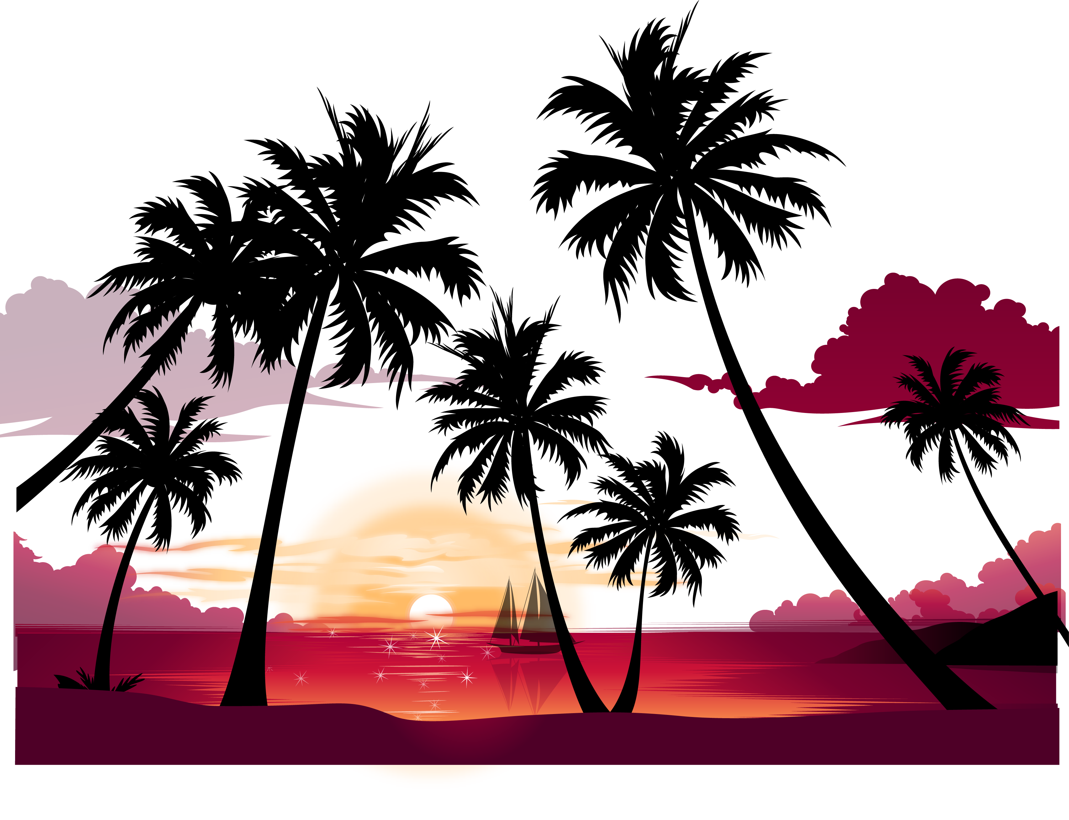 Beach at getdrawings com. Sunset clipart silhouette
