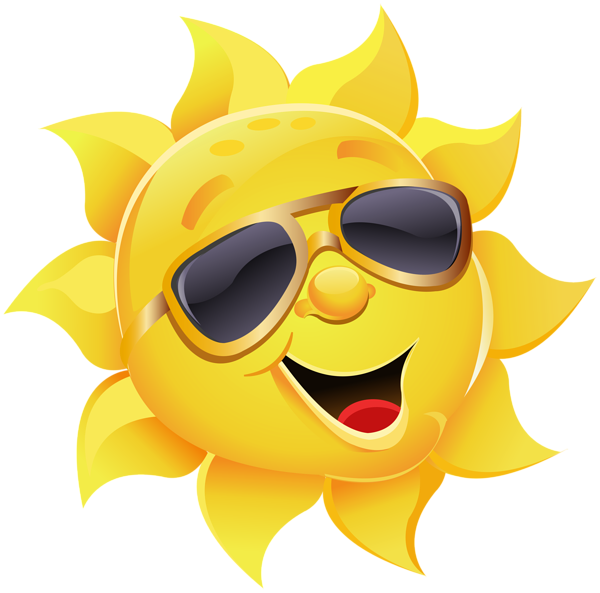 Sun with sunglasses png. Square clipart smiley