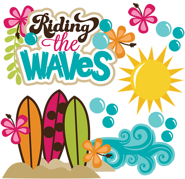 Waves clipart surfing. Riding the svg beach