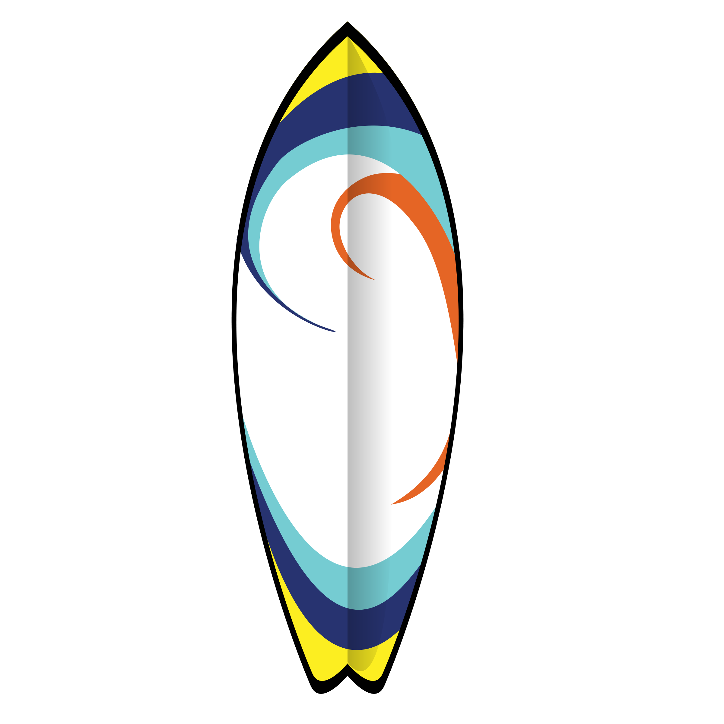 Printed surfboards on cardstock. Surfing clipart border