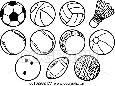 Eps illustration sport ball. Clipart volleyball football