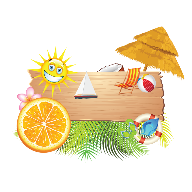 Clipart summer element. Holiday beach elements vacation