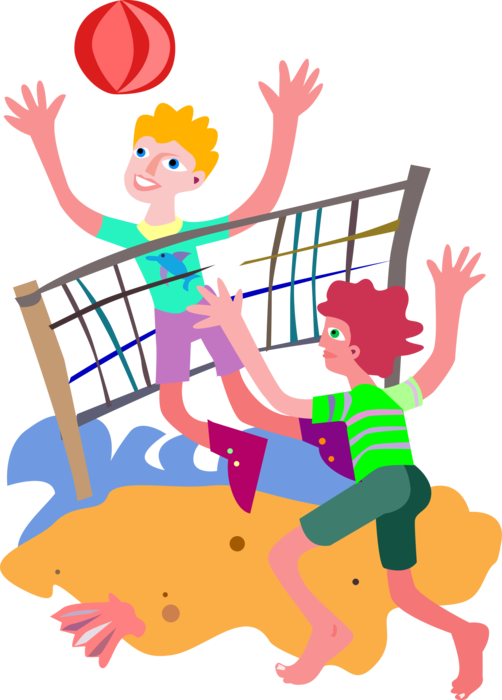 Clipart volleyball sand volleyball. Playing beach in vector