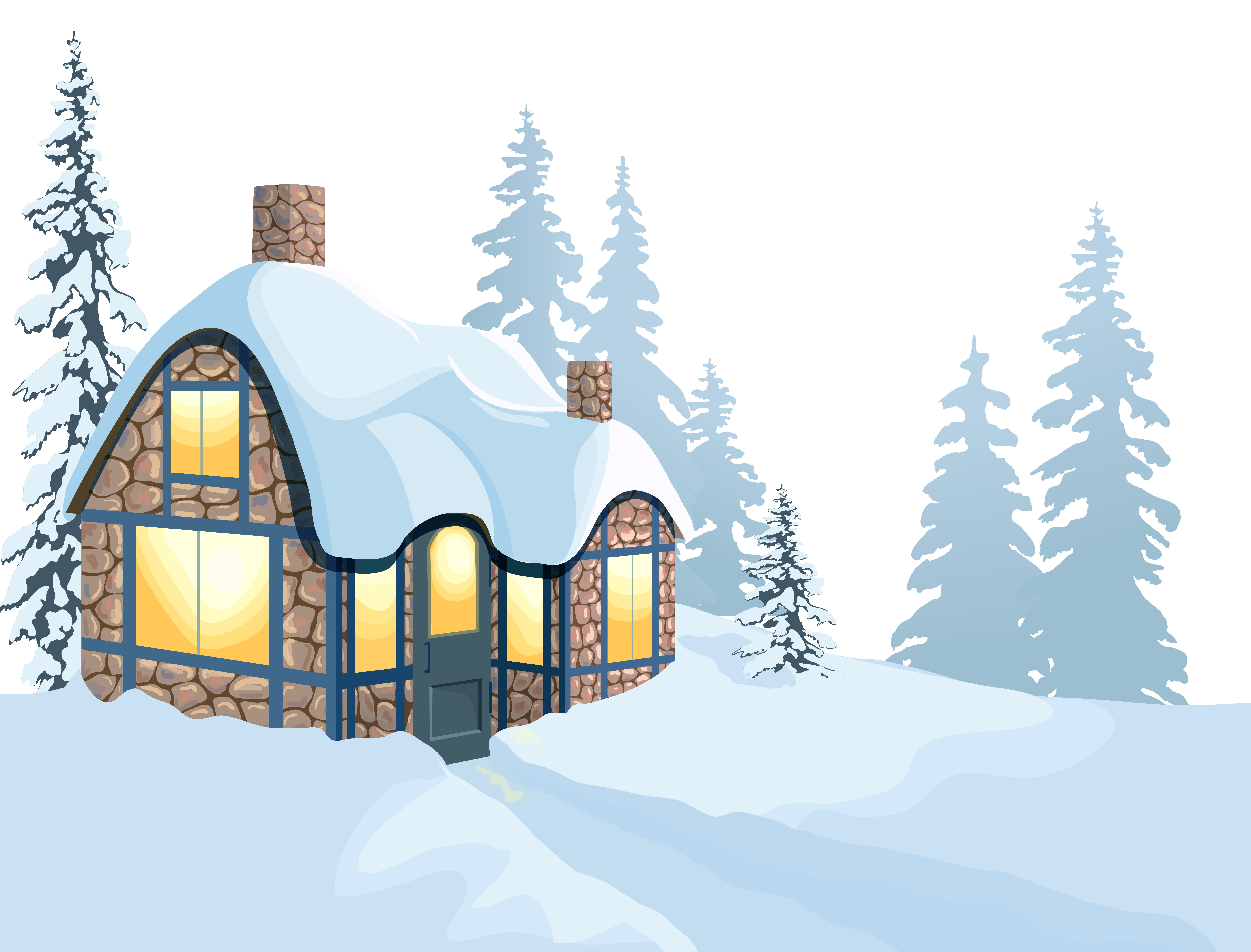 House and snow png. Winter clipart mountains