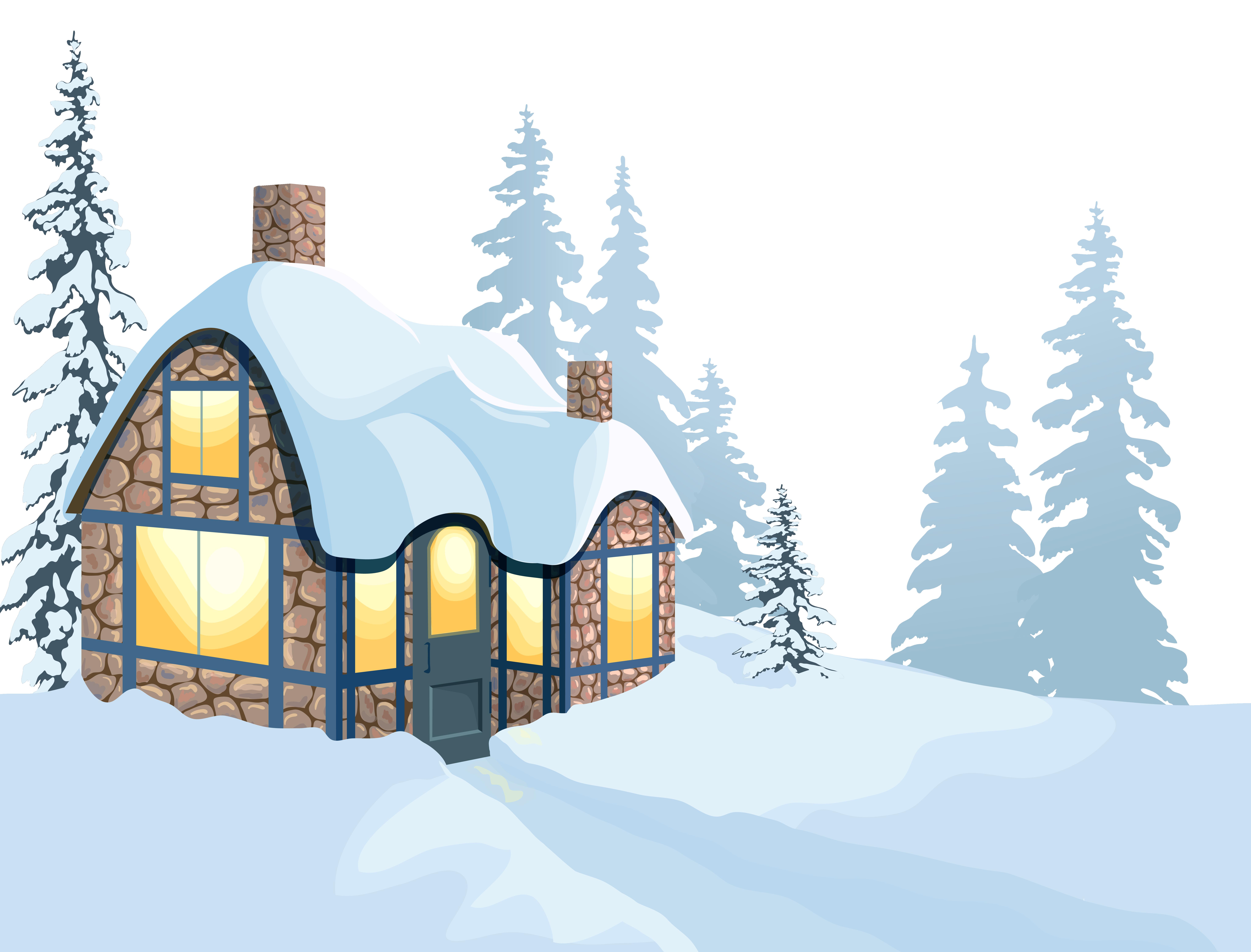 Winter house and snow. Snowman clipart landscape