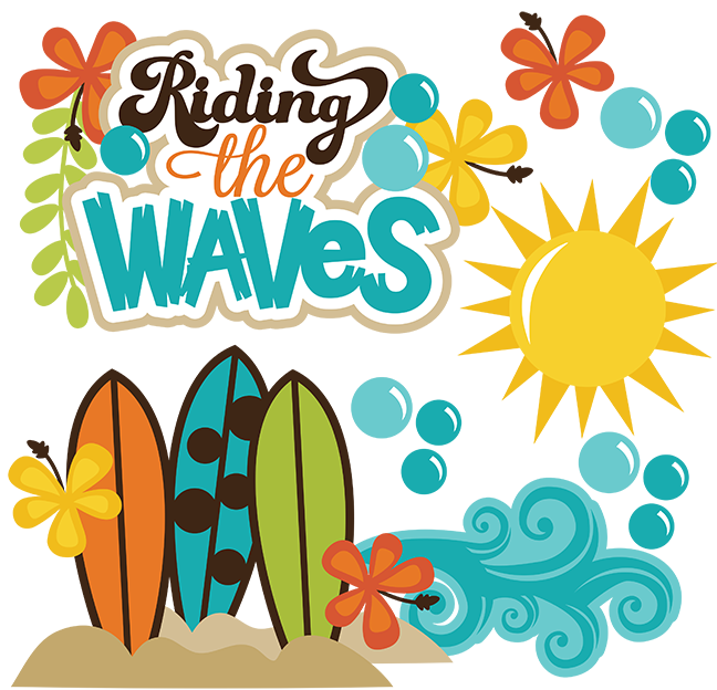 Riding the waves svg. Clipart beach word