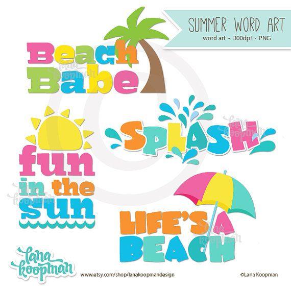 Clipart beach word. Summer art by lana
