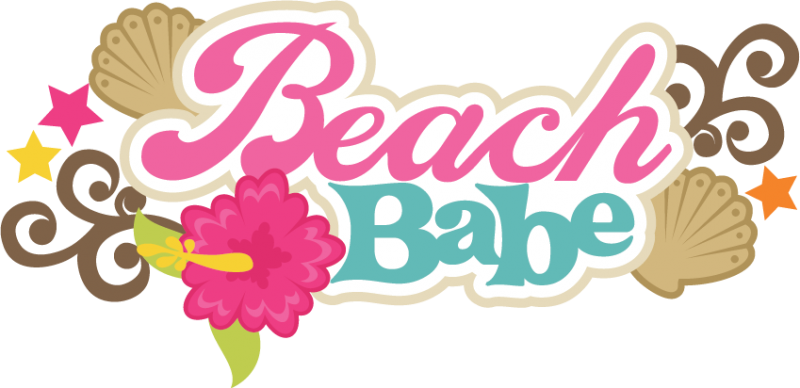 Words clipart beach. Babe svg scrapbook title