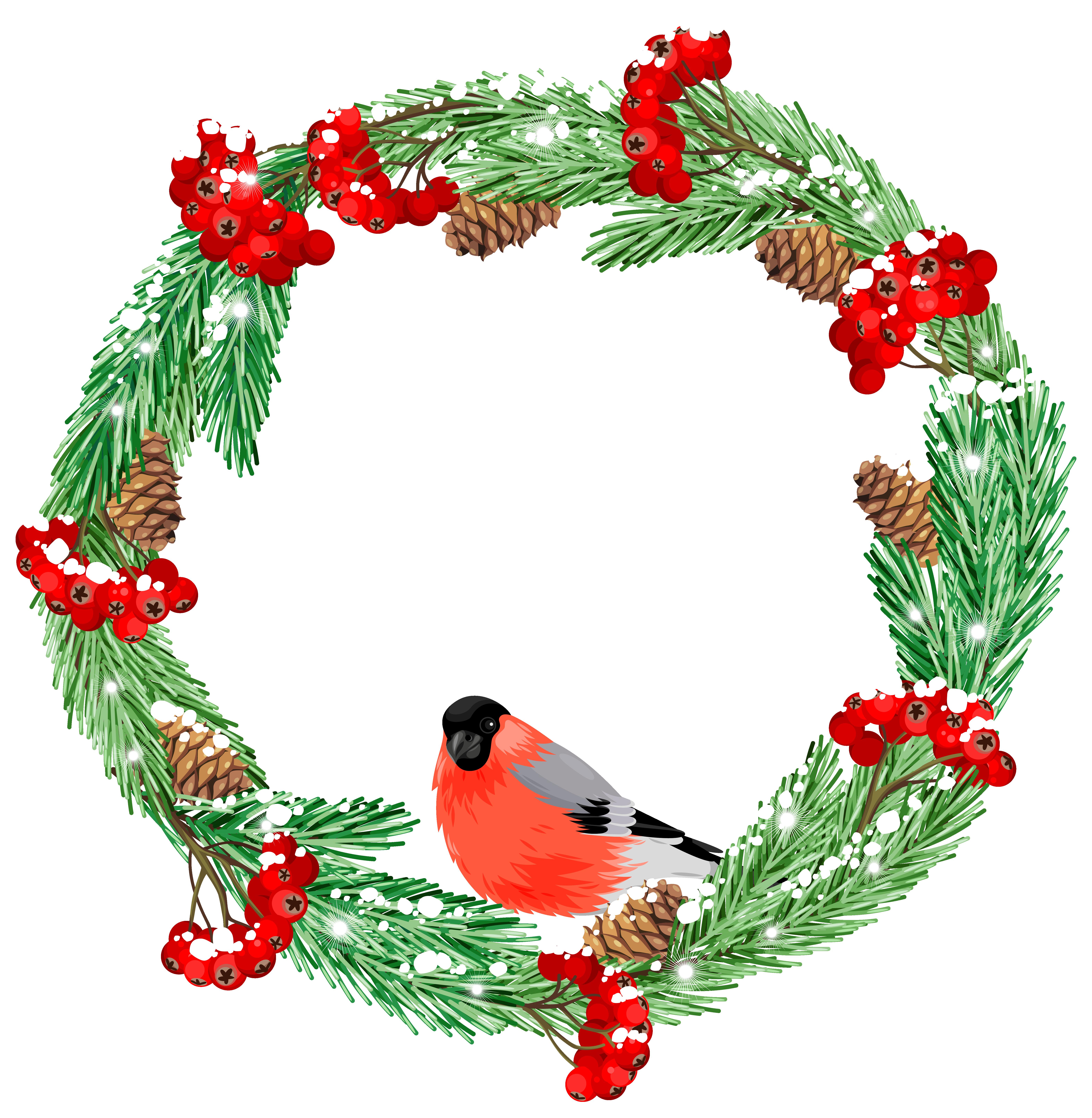 Green winter with bird. Clipart fruit wreath