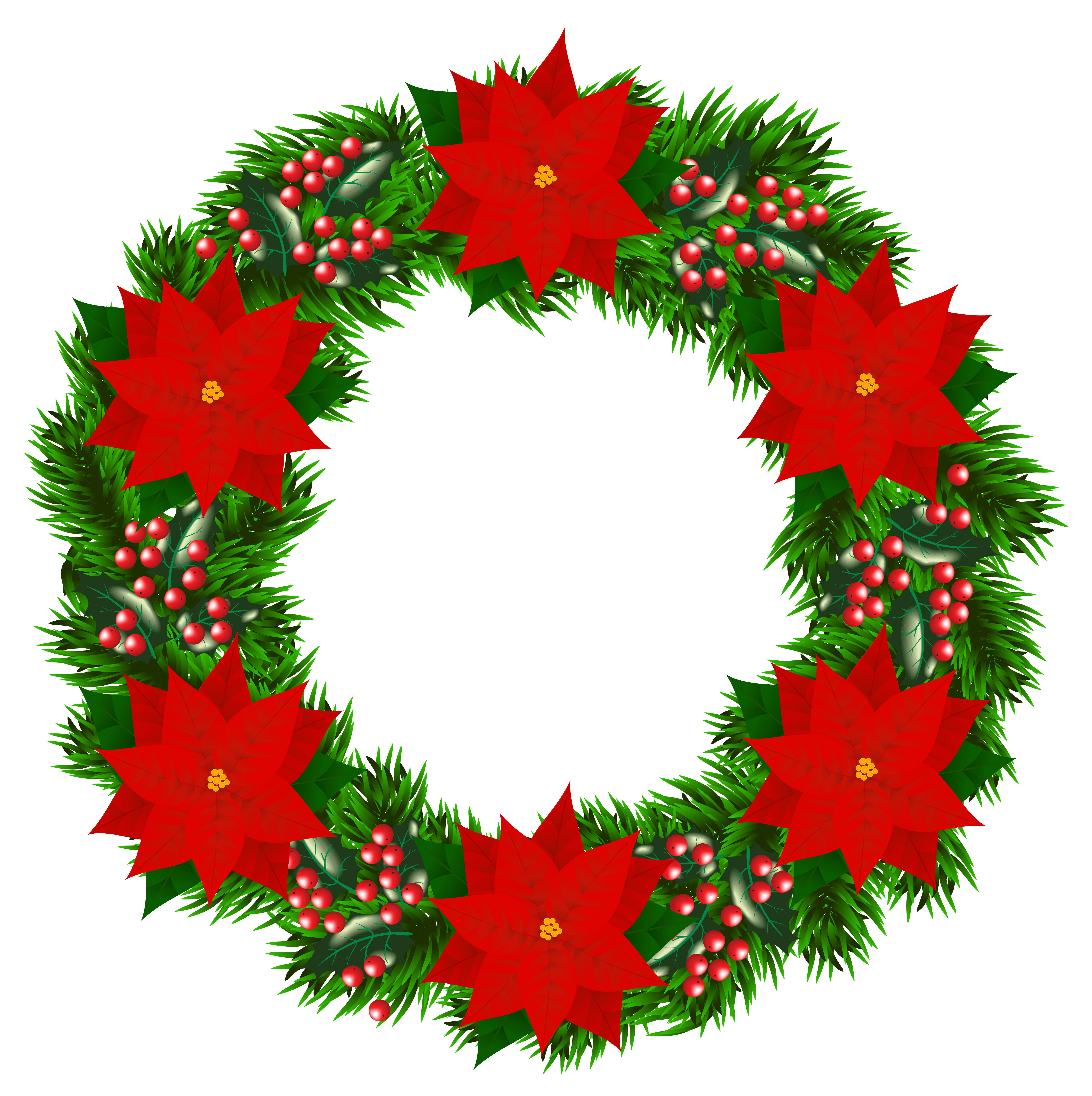 Christmas wreath with png. Clipart borders poinsettia