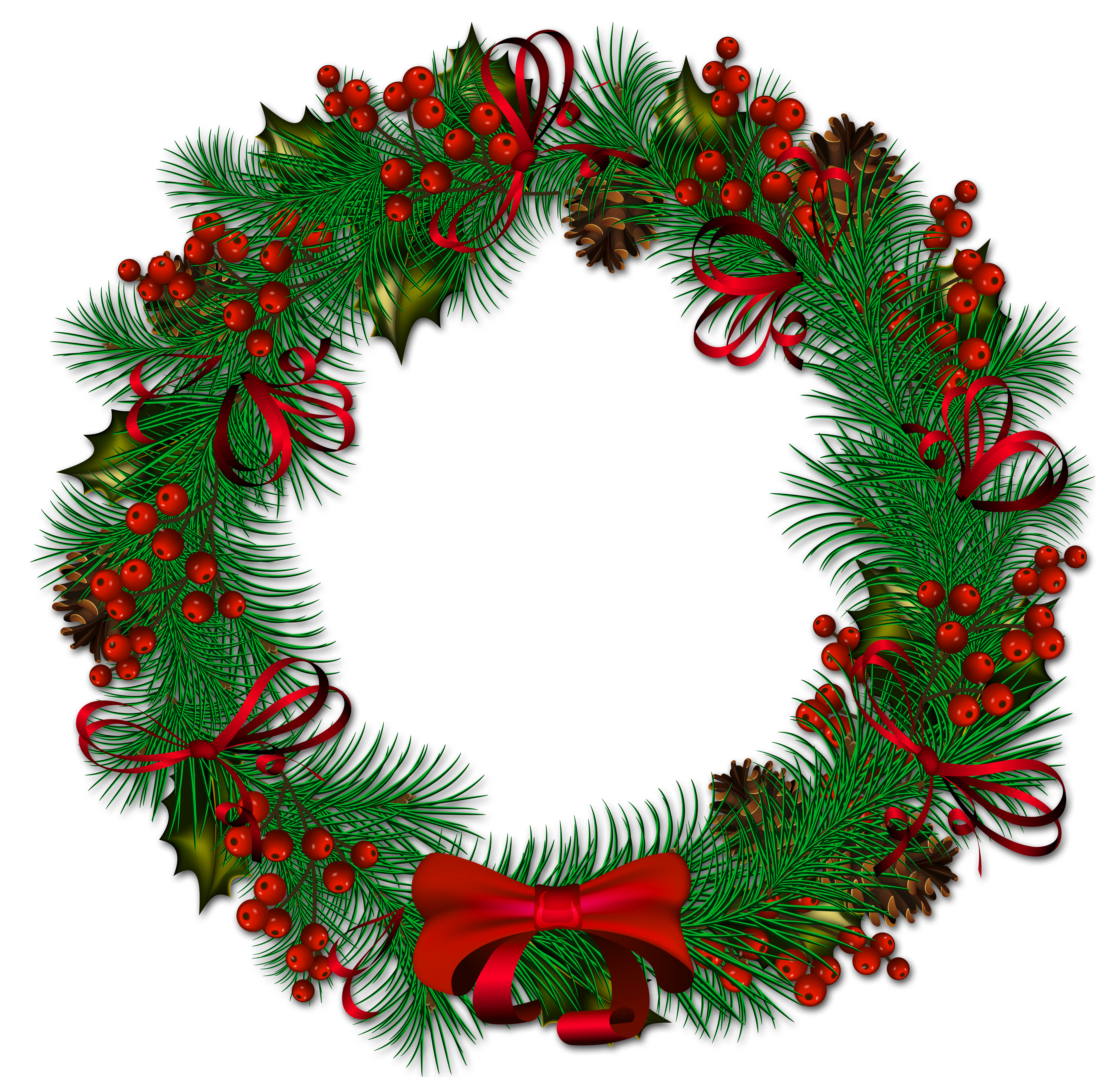 Holly clipart ribbon. Transparent christmas pinecone wreath
