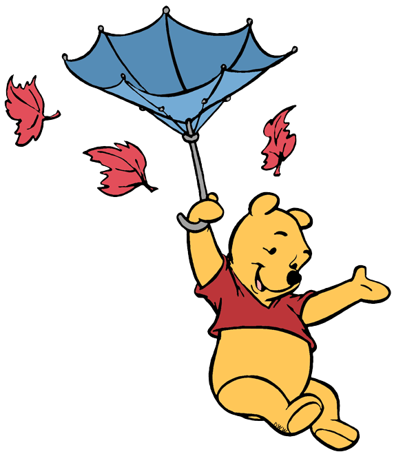 Winnie the pooh clip. Leaves clipart windy
