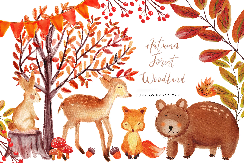 Deer clipart forest deer. Autumn woodland watercolor bear