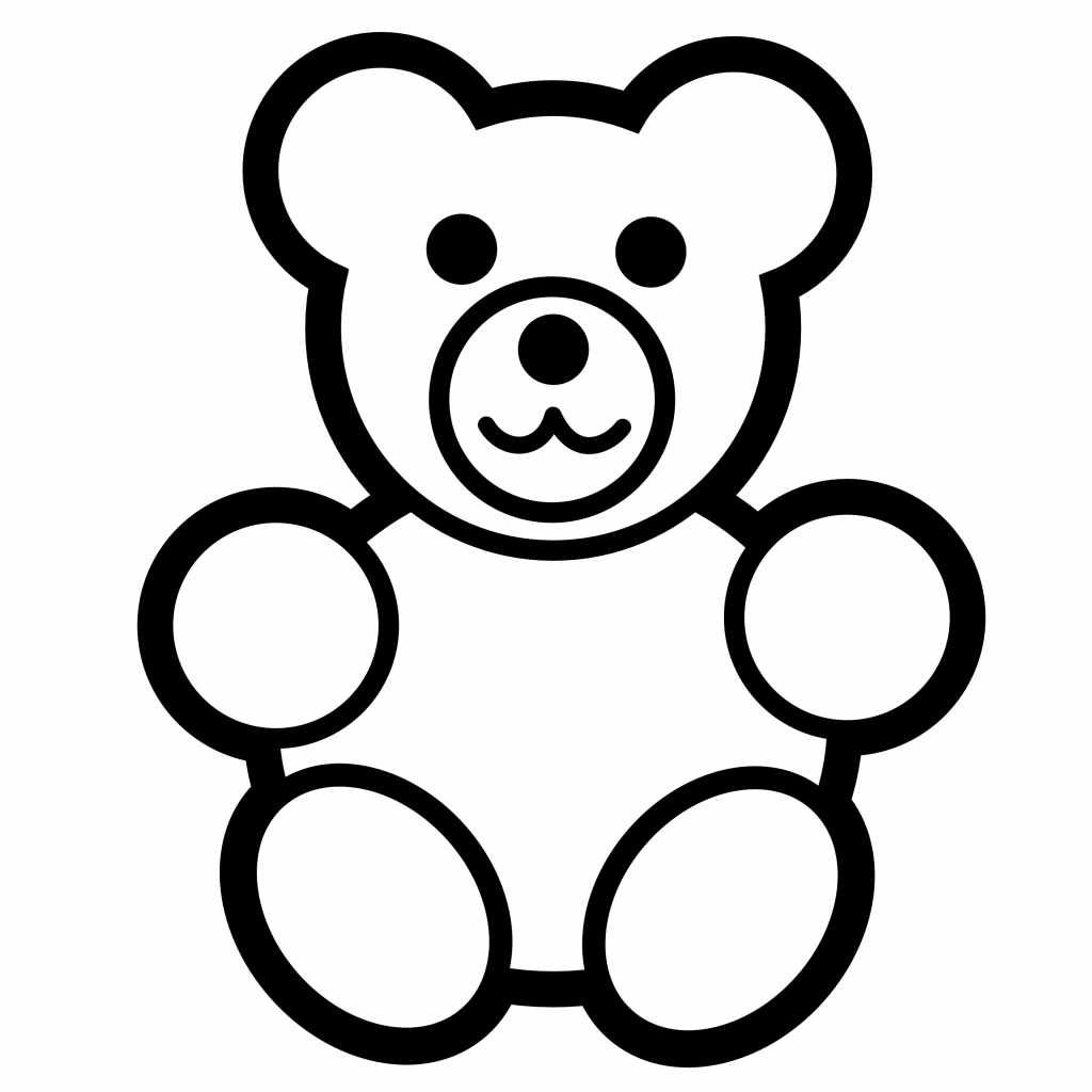 Diapers clipart black and white. Teddy bear silhouette clip