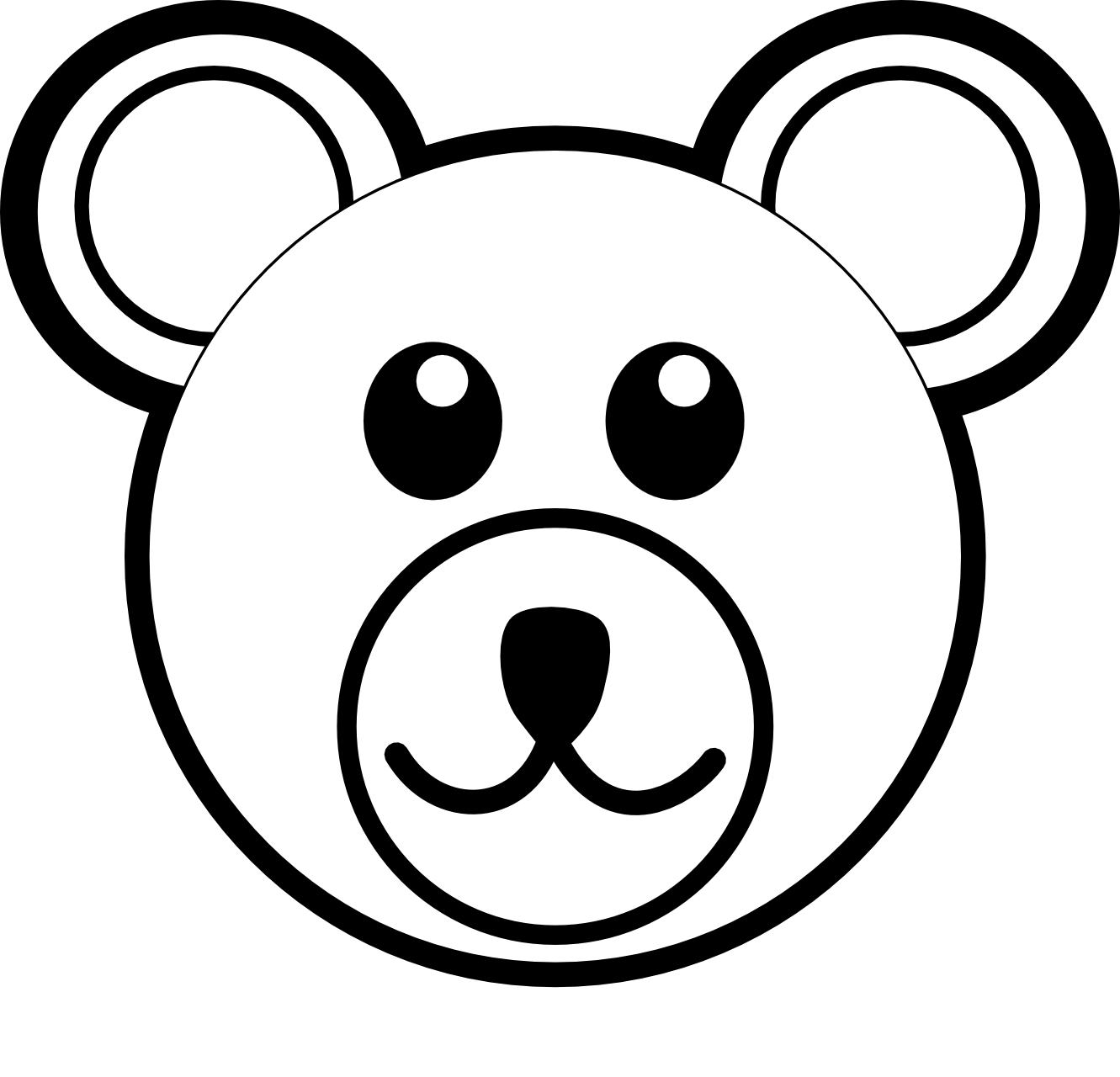 Cute black bear panda. Clipart rose face