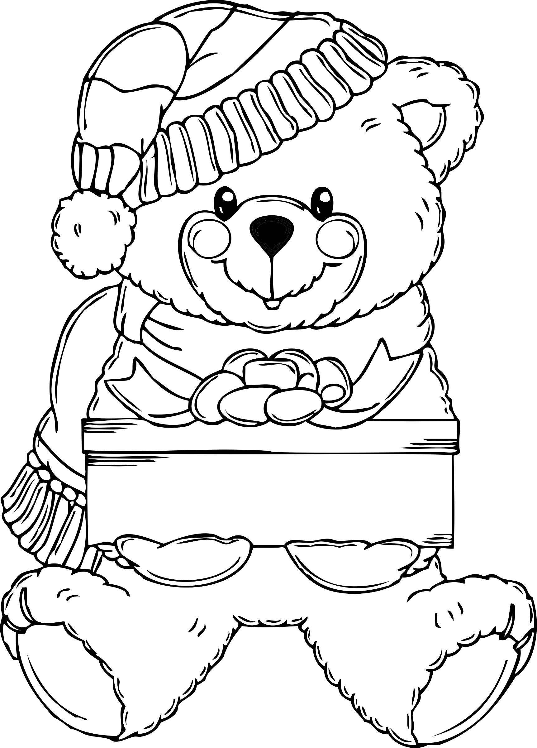 Clipart present white christmas. Bear coloring page big