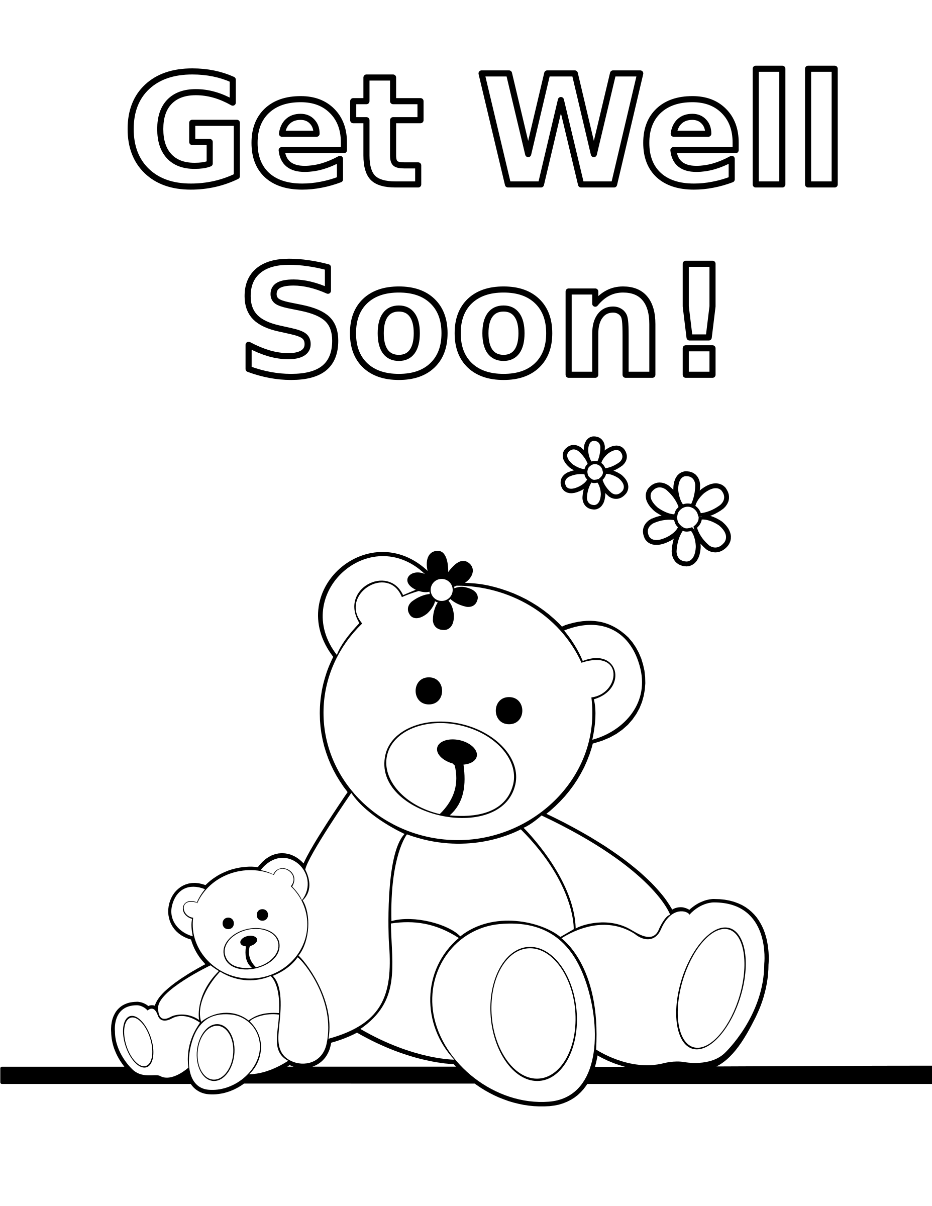 Color clipart card. Coloring get well soon