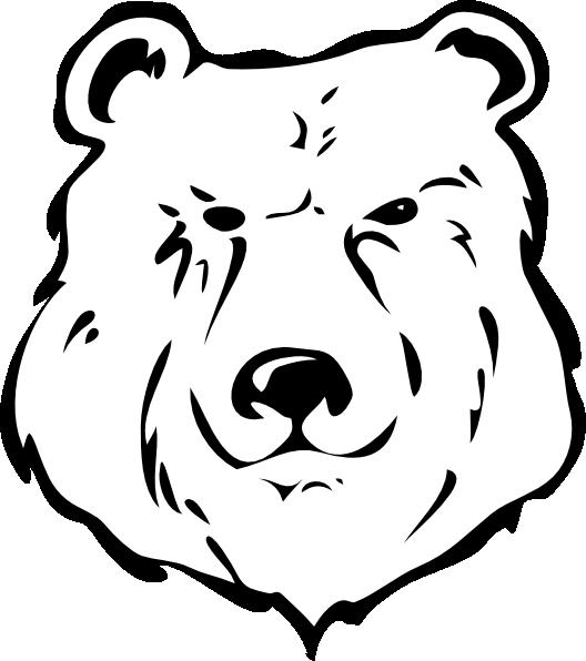 Head clipart polar bear. Black and white clip