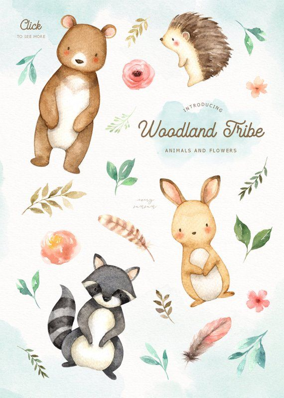 Woodland clipart woodland flower. Tribe watercolor clip art